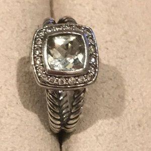 Authentic David Yurman Ring w/Prasiolite/Diamonds